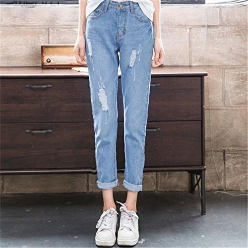 Femmes Dames Jeans Pantalons Taille Dchir Up Auspicieux Jeans Dcontracts Coton Dchir pour d't Les Mode Haute Dark Pantalons Push pour Femmes Blue Jeans Bleu dFYnnqf1
