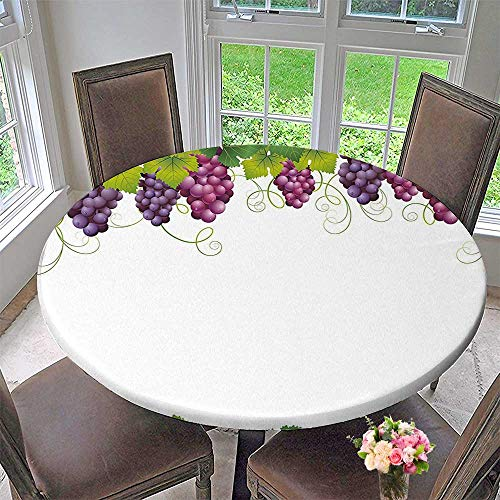 Mikihome Chateau Easy-Care Cloth Tablecloth Sprout Background in Soft Pastel Effects Classical Fall Violet Green for Home, Party, Wedding 43.5