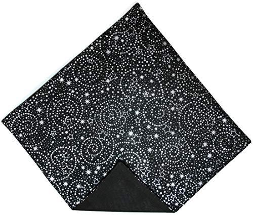- Men's Pocket Square Black with Silver Metallic Stars Design Handkerchief (Mens)