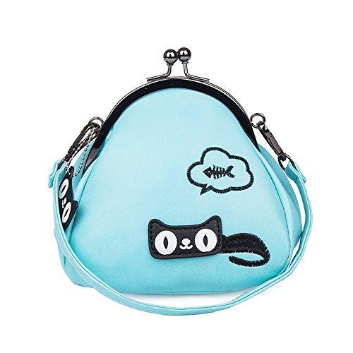 Xiaolong Primavera De 2018 Bolso Satchel Coreano Personalidad Pellizco Bolsa Pequeña Bolsa De Hombro De Impresión,Skyblue blue