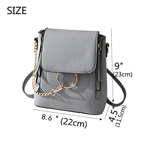 BABORRY for Crossbody Pu Women women Chain Small Bag Leather Purse Grey Shoulder Designer Backpack PrP5qCw