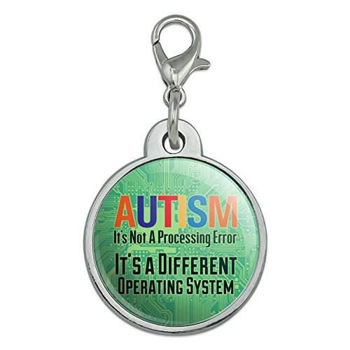 Autism Not a Processing Error Different Operating System Chrome Plated Metal Pet Dog Cat ID Tag - Small