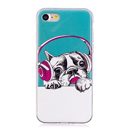 Qiaogle Teléfono Caso - Funda de TPU silicona Carcasa Case Cover para Samsung Galaxy S7 Edge / G9350 (5.5 Pulgadas) - XS52 / Azul + Unicorn XS53 / Música Bulldog