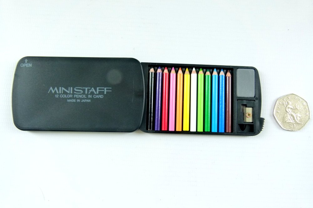Japanese Tiny Mini 4.5cm in length Colored Pencils In Case With Eraser and Sharpener - black case