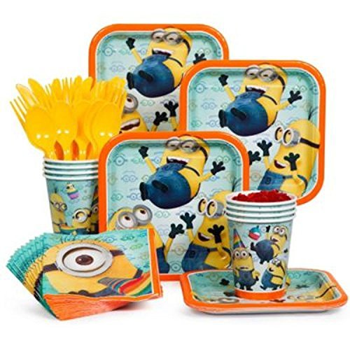 Despicable Me Minions Birthday Party Supply Pack! Includes: Plates, Napkins, Cups & Utensils! Serves 16! ()