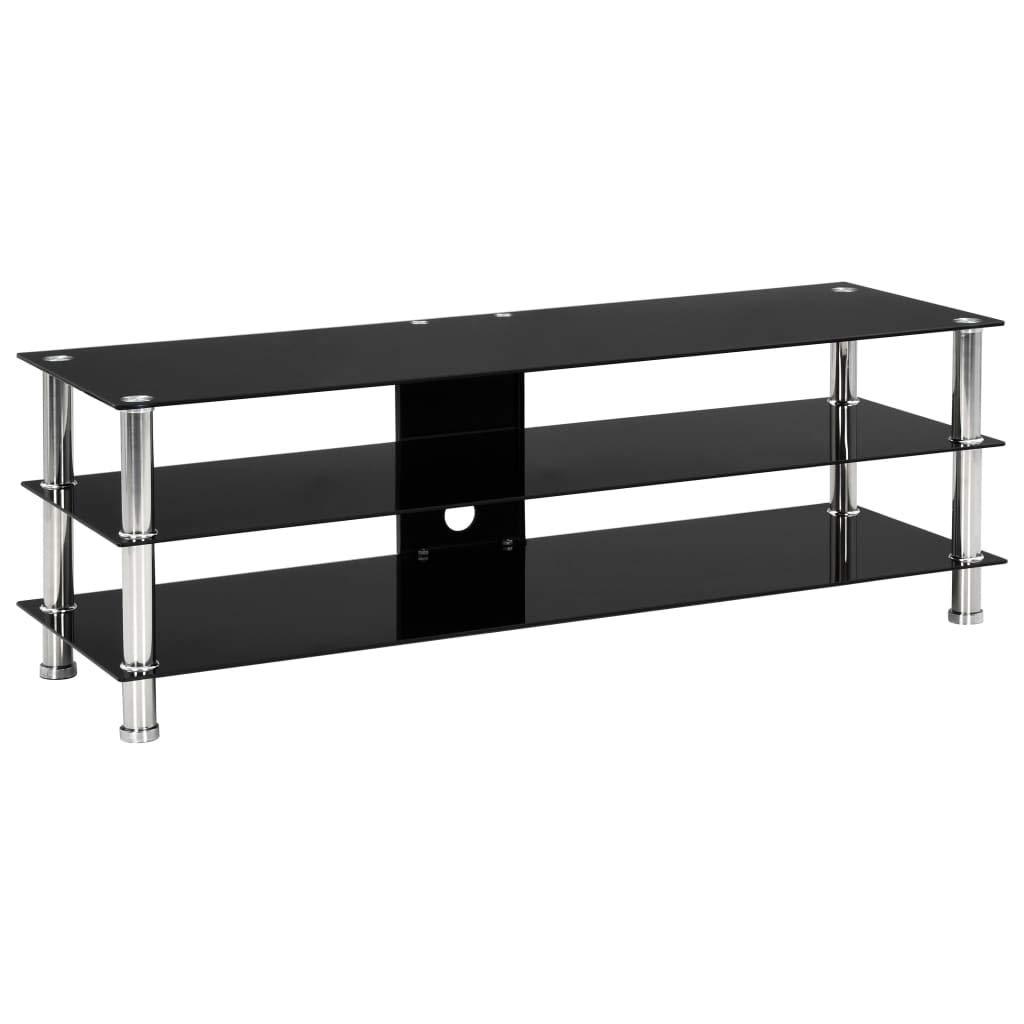 vidaXL TV Tisch mit 2 Glas-Regalb/öden TV M/öbel Schrank Board Lowboard Fernsehschrank Fernsehtisch HiFi-Schrank Schwarz 120x40x40cm Geh/ärtetes Glas