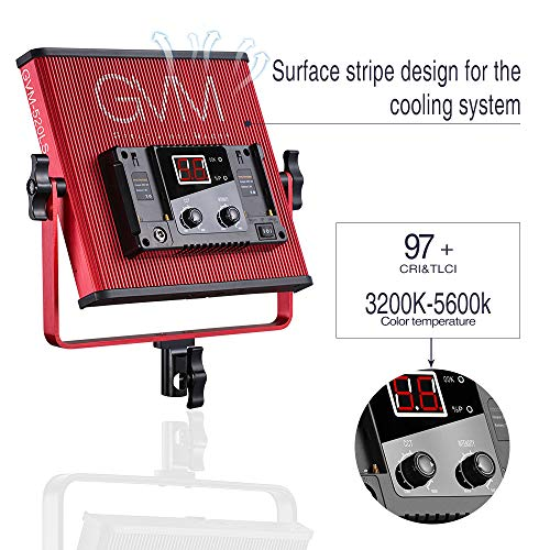 GVM LED Video Light 520 CRI97 + & TLCI 97+ 18500lux @ 20 inch Bi-Color 3200-5600K for Photography Video Lighting Studio Interview Portrait by GVM Great Video Maker (Image #3)