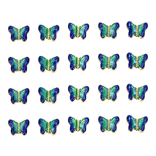 Monrocco 20 Pack Enamel Cloisonne Butterfly Pendant Bead for Jewelry Making
