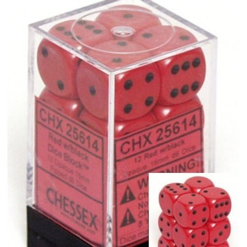 (Chessex Dice d6 Sets: Opaque Red with Black - 16mm Six Sided Die (12) Block of Dice)
