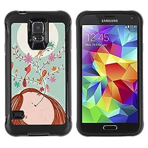 Suave TPU GEL Carcasa Funda Silicona Blando Estuche Caso de protección (para) Samsung Galaxy S5 V / CECELL Phone case / / Drawing Floral Girl Moon Teal /