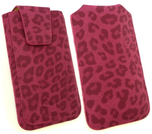 Emartbuy® Sparkling Stylus Pack Para Huawei Ascend G600 Gama Classic Faux Suede Leopardo Slide Rosa En Carcasa / Caja / Manga / Titular (Tamaño 3Xl) Con Magnético De La Aleta & Pull Mecanismo Tab + Sp