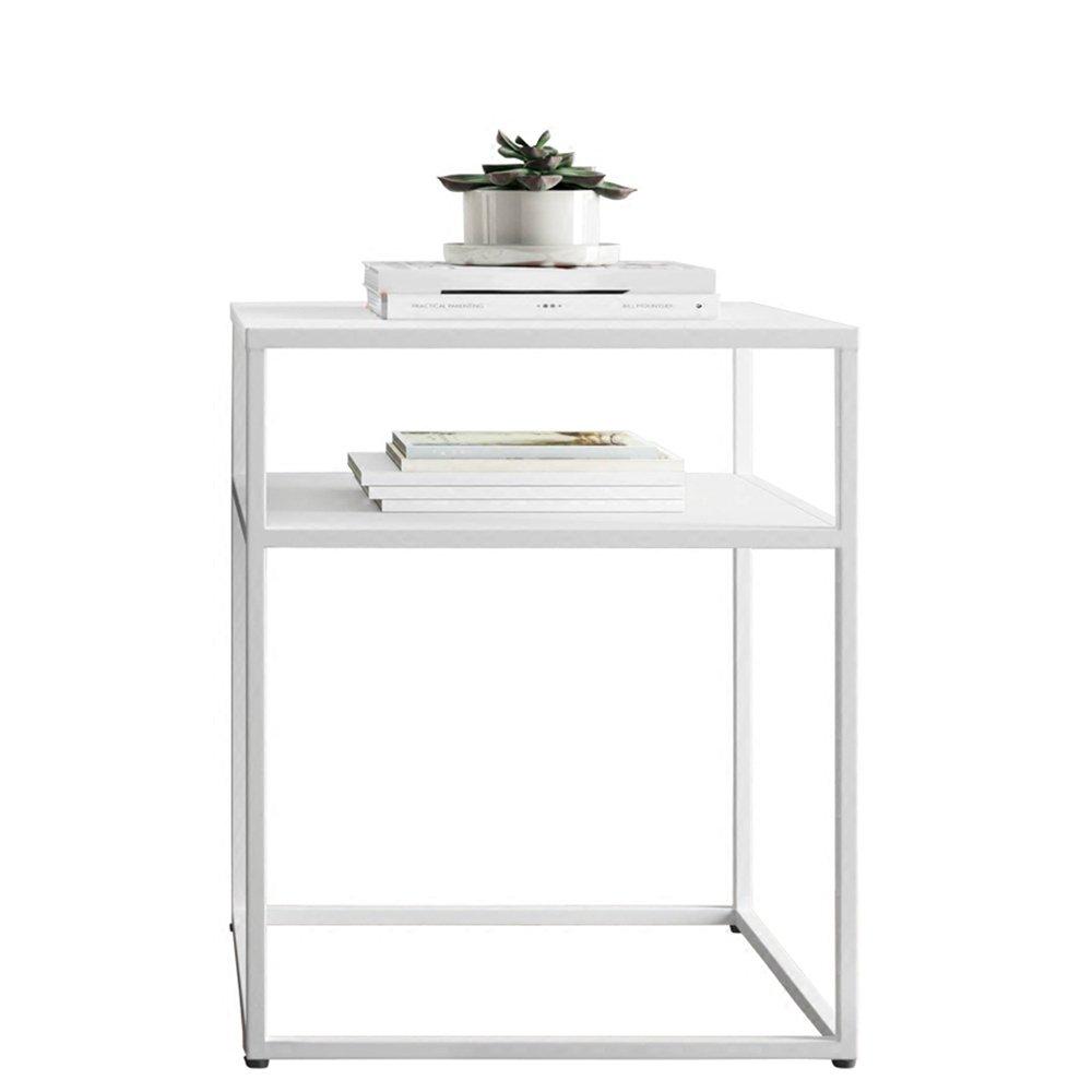Weiß Lagerregal ZHIRONG Möbel 60CM Höhe Square End Beistelltisch, Schwarz Weiß, 50  50  60CM (Farbe   Weiß)
