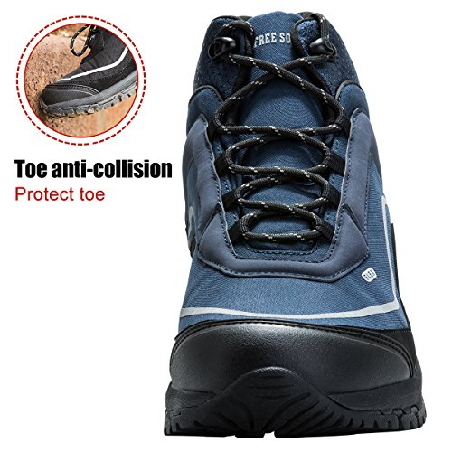 Men's Tactical Boots All Terrain Lightweight Work Boots Mid and Low Military Desert Hiking Boots Blue (Mid Boot) YwUbfV