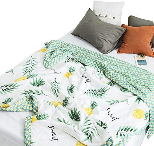 (J-pinno Summer Green Leaves Pineapples Quilt Comforter Full for Kids Bedding Decoration Sofa Throw Blanket (Full 78