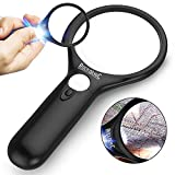 RockDaMic Magnifying Glass [3X 10x 45x w/ 3 LED Lights] Handheld Magnifier for Reading Maps - Best for Jeweler Watch Repair