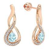 10K Rose Gold 5X4 MM Each Pear Cut Aquamarine & Round Cut Diamond Infinity Drop Earrings