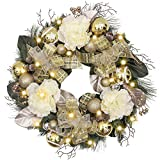 Valery Madelyn Pre-Lit 24 Inch Elegant Champagne Gold Christmas Wreath for Front Door with Shatterproof Ball Ornaments, Ribbon, Artificial Simulation Flower, Battery Operated 20 LED Lights