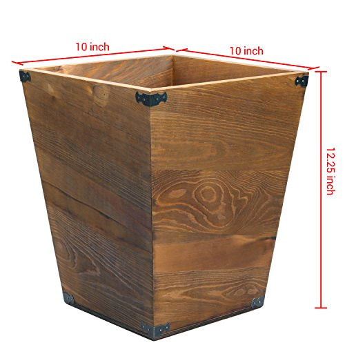MyGift Dark Brown Torched Wood Design Waste Bin/Small Decorative Trash Can for Bedroom, Bathroom & Office by MyGift (Image #6)