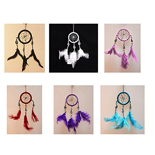 Per Mini Handmade Dream Catchers With Conch Wind Chimes Dreamcatcher Net Hanging Decoration Ornament For Bedroom /Car /Wedding(2.367.09in)-Black by Per (Image #1)