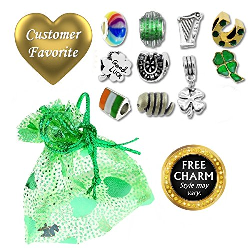 European Charm Bracelet Charms and Beads For Women and Girls Jewelry, Lucky Irish Green by Timeline Treasures (Image #2)