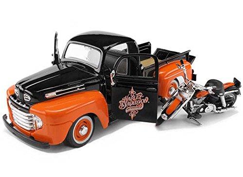 Maisto HD - Ford F-1 Pickup Harley-Davidson / FLH DUO Glide Motorcycle (1948/1958, 1/24 scale diecast model car/1/24 scale diecast model car, Black & Orange) 32180