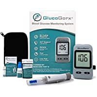 GlucoGorx® Blood Glucose Testing Kit - 210 Blood Test Strips, 225 Sterile Lancets, Glucometer, Depth Controlled Lancing Device, Control Solution, User Manual & Convenient Carrying Case