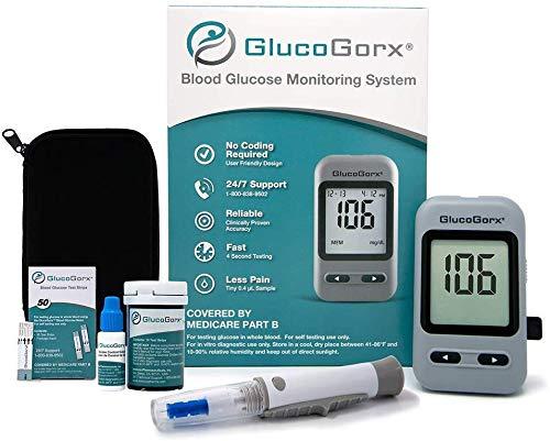 affordable GlucoGorx® Blood Glucose Testing Kit - 210 Blood Test Strips, 225 Sterile Lancets, Glucometer, Depth Controlled Lancing Device, Control Solution, User Manual  Convenient Carrying Case