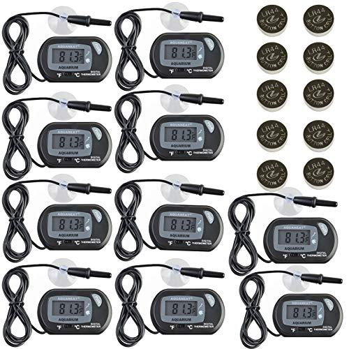 Aquaneat Aquarium Digital Thermometer 10 Pack Fish Tank Water Terrarium Free Extra Button Cell