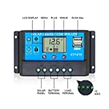Ela 10A Solar Charge Controller 12V/24V Auto Work with Dual USB Ports LCD Display Solar Panel Charging Battery Regulator Overload Protection