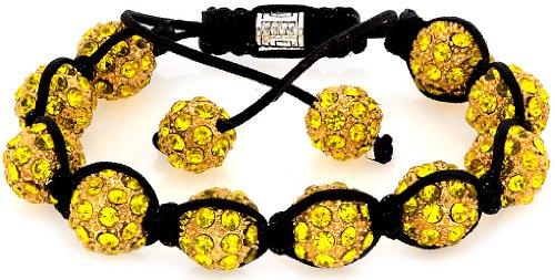 Royal Diamond Canary Yellow Shamballa Crystal Stone Balls Shamballa Bracelet (9 COLORS TO CHOOSE (Canary Crystal)