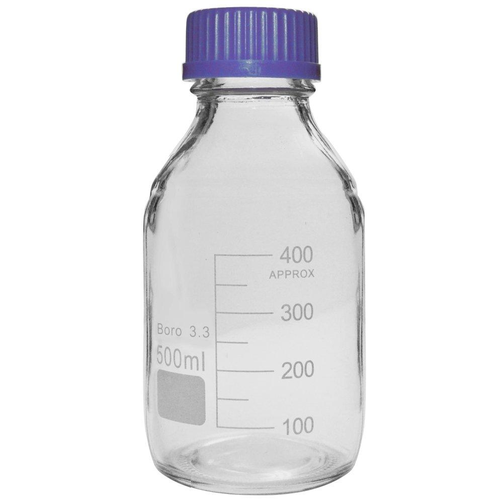 500ml Glass Media Storage Bottles, 3.3 Boro, Round, with GL45 Screw Cap, Karter Scientific 232I4 (Single)