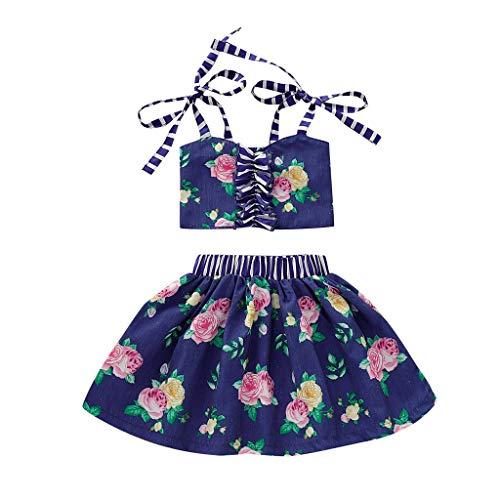 Sunhusing Children Girls Sleeveless Flower Striped Print Sling Dress Open Back Bowknot Tie Mini Pleated -