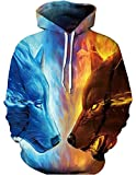 xxxl hooded pullover - Unisex Fashion 3D Digital Galaxy Pullover Hoodie Hooded Sweatshirt Athletic Casual with Pockets(ice fire, XXL/XXXL)
