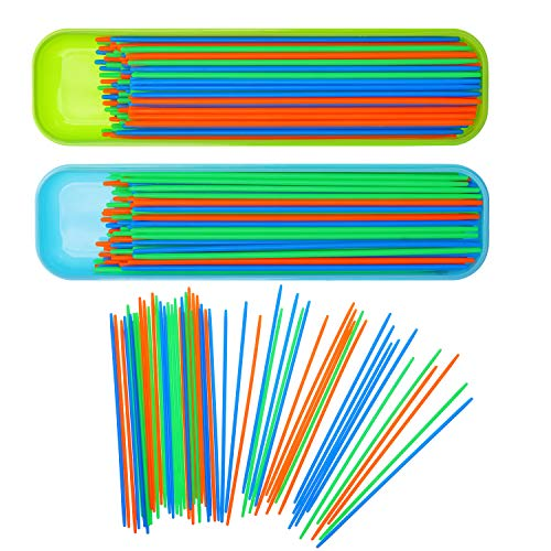 Boao 200 Pieces Pick up Sticks Game Toys with 2 Storage Boxes for Kids Family Fun, 3 Colors]()