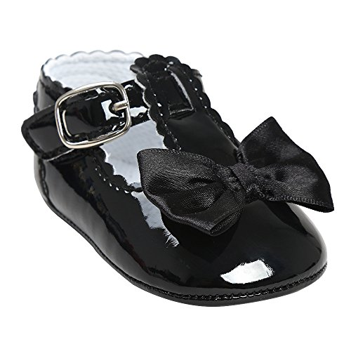 Image of QGAKAGO Infant Baby Girls Princess Patent-Leather Bowknot Soft Sole Mary Jane Shoes