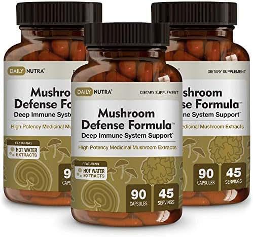 Mushroom Defense Formula by DailyNutra - Immune Support Supplement | Organic Mushrooms, Hot Water Extracted - Reishi, Chaga, Maitake, Shiitake & Turkey Tail (3-Pack)