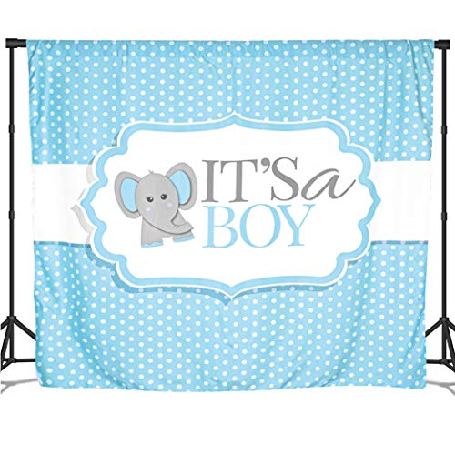 Baby Nest Designs It's a Boy Banner for Elephant Baby Shower Backdrop Boy. Fabric Elephant Backdrop 6x6 Feet - Blue Baby Shower Banner for Gender Reveal Party Supplies and Baby Shower Decorations