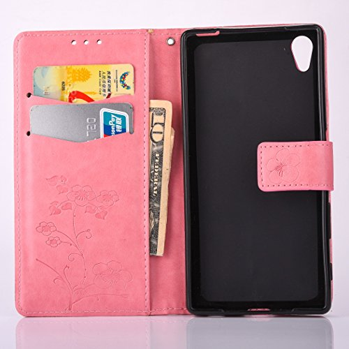 Sony Xperia X Case, Sony Xperia X Leather Case, Sony Xperia X Wallet Case,Cozy Hut Retro Vintage Embossed Plum Blossoms Pattern Pu Bookstyle Strap Leather Wallet Flip Protective Case Cover with Stand Pink