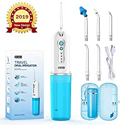 Cordless Water Flosser, Dr.meter IPX7 Waterproof 4 Modes Rechargeable Oral Irrigator with 5 Multi-functional Jet Tips Portable Teeth Cleaner for Home and Travel, Braces & Bridges Care-Great Gift Idea
