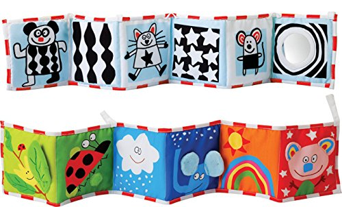 Kolamom Clip-On Baby Pram Carriage Crib Stroller Cloth Books Crib Bumper Crinkle Soft Book for Babies Early Development Learning & Education Toys for Newborn Infants Toddlers Children Kids (cat)