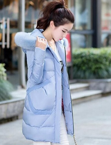 Casual Down 2XL Solid Coat Sleeve Duck Simple White Women's Polyester Pink LIGHTBLUE Long Daily Black Down Blue YRF wgfIxqn