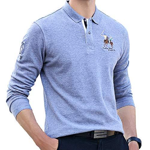 危機放棄交じるポロシャツ メンズ 長袖 ゴルフウェア コットン 男性 刺繍 二重衿 軽量 吸汗通気 3色展開