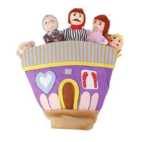 Marionnette à Main Membre Famille en Bois Jouet Cadeau Enfant