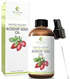 Rosehip Oil for Redness Certified Organic Rosehip Seed Oil, Pure & Cold Pressed by RejuveNaturals, 4 oz  Anti Aging, Antioxidant Rich Skin Moisturizer for Improving the Look of Face Wrinkles, Scars, Acne & Stretch Marks