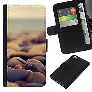 Stuss Case / Funda Carcasa PU de Cuero - Piedras de la playa - HTC Desire 820