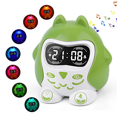 White Noise Sound Machine for Baby Kid Toddler, Sleep Trainer & Time to Wake Digital Alarm Clock for Bedroom,Portable Sleep Soother Night Light with 9 Sounds & Lullaby,Timer,Battery Operated/Plug in