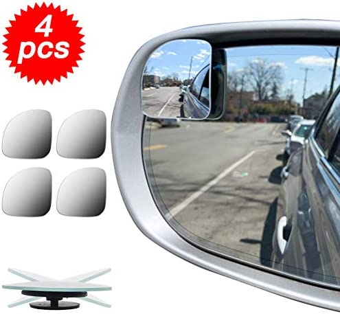 Left Blind Spot Car Mirror 3 in 1 Glasses Convex Wide Angle Rear View 360 Degrees Rotatable Blindspot Side Eliminator Auxiliary Mirror for Cars SUV and Trucks
