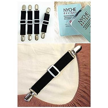 Adjustable Bed Sheet Fasteners Suspenders (Set of 4, Black)