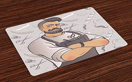 The 4 Elements Of Shaving - Ambesonne Hipster Place Mats Set of 4, Muscular Barber Man with Hipster Hairstyle and Mustache on Graphic Shaving Elements, Washable Fabric Placemats for Dining Room Kitchen Table Decor, Multicolor