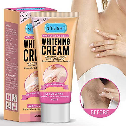 Whitening Cream for Armpits, Underarm Whitening Cream, With Collagen - Effective Lightening Cream - Knees, Elbows, Sensitive & Private Areas.